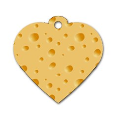 Seamless Cheese Pattern Dog Tag Heart (One Side)