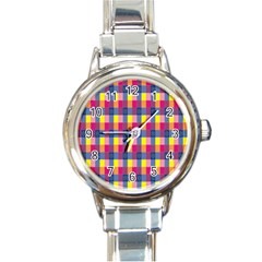 Sheath Malay Sarong Motif Round Italian Charm Watch