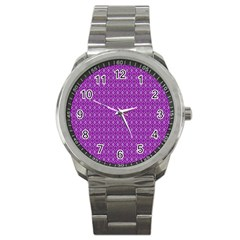 Surface Purple Patterns Lines Circle Sport Metal Watch