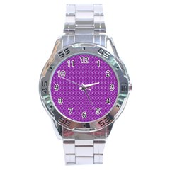 Surface Purple Patterns Lines Circle Stainless Steel Analogue Watch