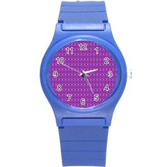 Surface Purple Patterns Lines Circle Round Plastic Sport Watch (S)
