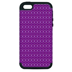 Surface Purple Patterns Lines Circle Apple iPhone 5 Hardshell Case (PC+Silicone)