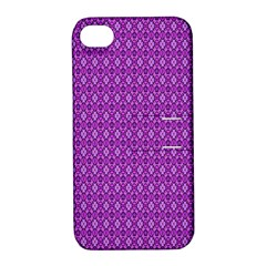 Surface Purple Patterns Lines Circle Apple iPhone 4/4S Hardshell Case with Stand