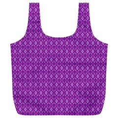 Surface Purple Patterns Lines Circle Full Print Recycle Bags (L)