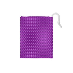 Surface Purple Patterns Lines Circle Drawstring Pouches (Small)
