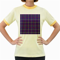 Tartan Fabric Colour Blue Women s Fitted Ringer T-Shirts
