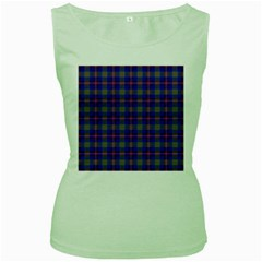 Tartan Fabric Colour Blue Women s Green Tank Top