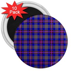 Tartan Fabric Colour Blue 3  Magnets (10 pack)