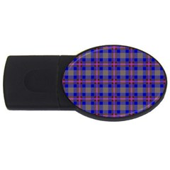 Tartan Fabric Colour Blue USB Flash Drive Oval (1 GB)