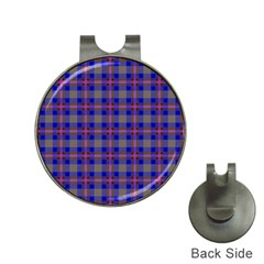 Tartan Fabric Colour Blue Hat Clips with Golf Markers