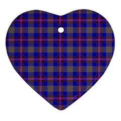 Tartan Fabric Colour Blue Heart Ornament (Two Sides)