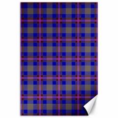 Tartan Fabric Colour Blue Canvas 12  x 18