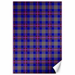 Tartan Fabric Colour Blue Canvas 20  x 30