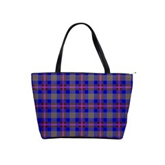 Tartan Fabric Colour Blue Shoulder Handbags