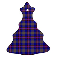 Tartan Fabric Colour Blue Christmas Tree Ornament (Two Sides)