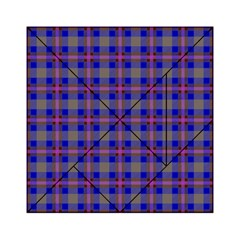 Tartan Fabric Colour Blue Acrylic Tangram Puzzle (6  x 6 )
