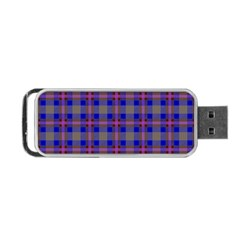 Tartan Fabric Colour Blue Portable USB Flash (Two Sides)