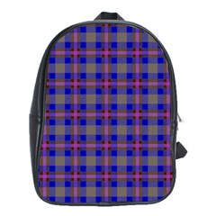 Tartan Fabric Colour Blue School Bags (XL)