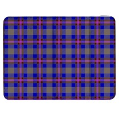 Tartan Fabric Colour Blue Samsung Galaxy Tab 7  P1000 Flip Case