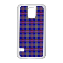 Tartan Fabric Colour Blue Samsung Galaxy S5 Case (White)