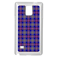 Tartan Fabric Colour Blue Samsung Galaxy Note 4 Case (White)