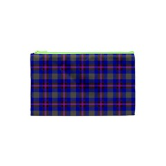 Tartan Fabric Colour Blue Cosmetic Bag (XS)