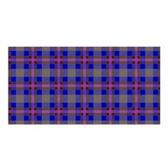 Tartan Fabric Colour Blue Satin Shawl