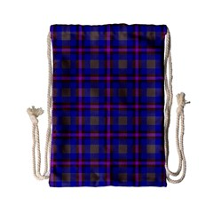 Tartan Fabric Colour Blue Drawstring Bag (Small)