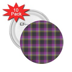 Tartan Fabric Colour Purple 2.25  Buttons (10 pack)