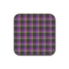 Tartan Fabric Colour Purple Rubber Coaster (Square)