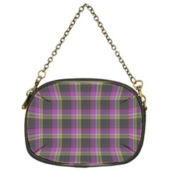 Tartan Fabric Colour Purple Chain Purses (Two Sides)