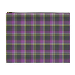Tartan Fabric Colour Purple Cosmetic Bag (XL)