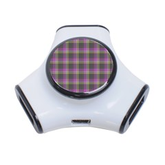 Tartan Fabric Colour Purple 3-Port USB Hub