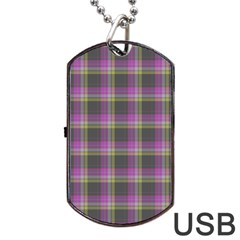 Tartan Fabric Colour Purple Dog Tag USB Flash (One Side)