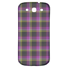 Tartan Fabric Colour Purple Samsung Galaxy S3 S III Classic Hardshell Back Case