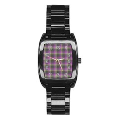 Tartan Fabric Colour Purple Stainless Steel Barrel Watch