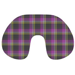 Tartan Fabric Colour Purple Travel Neck Pillows