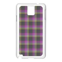 Tartan Fabric Colour Purple Samsung Galaxy Note 3 N9005 Case (White)