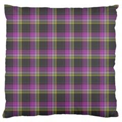 Tartan Fabric Colour Purple Large Flano Cushion Case (Two Sides)