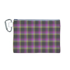 Tartan Fabric Colour Purple Canvas Cosmetic Bag (M)
