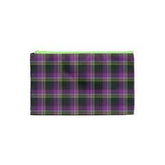 Tartan Fabric Colour Purple Cosmetic Bag (XS)