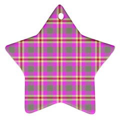 Tartan Fabric Colour Pink Ornament (Star)