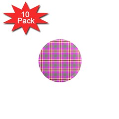 Tartan Fabric Colour Pink 1  Mini Magnet (10 pack)