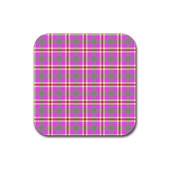 Tartan Fabric Colour Pink Rubber Square Coaster (4 pack)