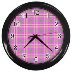Tartan Fabric Colour Pink Wall Clocks (Black)