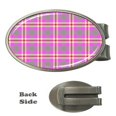 Tartan Fabric Colour Pink Money Clips (Oval)