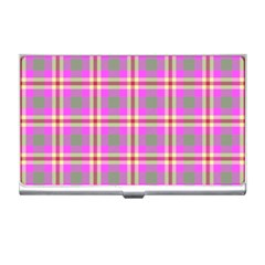 Tartan Fabric Colour Pink Business Card Holders