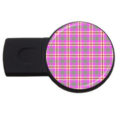 Tartan Fabric Colour Pink USB Flash Drive Round (1 GB)