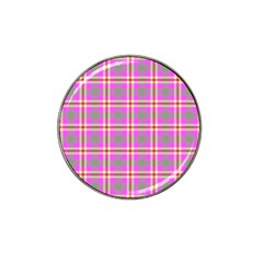 Tartan Fabric Colour Pink Hat Clip Ball Marker (10 pack)