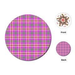 Tartan Fabric Colour Pink Playing Cards (Round)